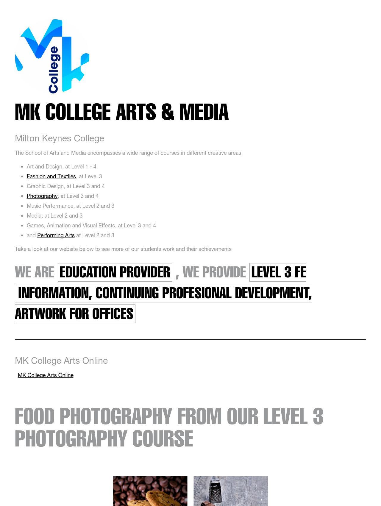 MK College School of Arts and Media